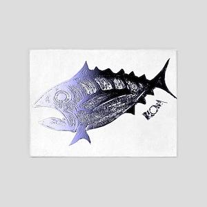 Blue Chrome Retro Tuna. Fish Retro 5'x7'Area Rug