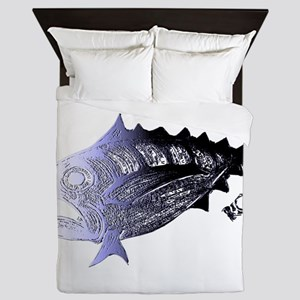 Blue Chrome Retro Tuna. Fish Retro Tu Queen Duvet