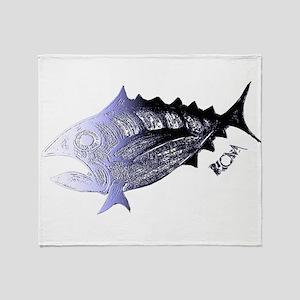 Blue Chrome Retro Tuna. Fish Retro Throw Blanket