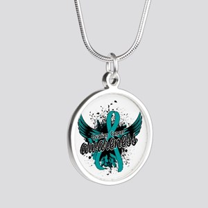 Ovarian Cancer Awareness 16 Silver Round Necklace