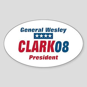 WESLEY CLARK PRESIDENT 08 Oval Sticker