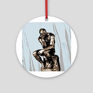 Rodin Thinker Christmas Tree Ornament (Round)