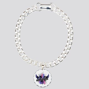 Male Breast Cancer Aware Charm Bracelet, One Charm