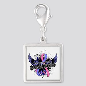 Male Breast Cancer Awareness Silver Square Charm