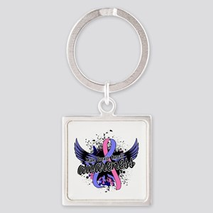 Male Breast Cancer Awareness 16 Square Keychain