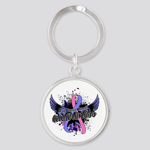 Male Breast Cancer Awareness 16 Round Keychain