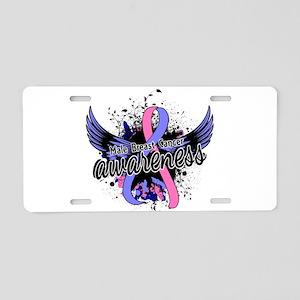Male Breast Cancer Awarenes Aluminum License Plate