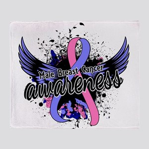 Male Breast Cancer Awareness 16 Throw Blanket
