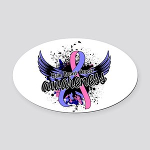 Male Breast Cancer Awareness 16 Oval Car Magnet