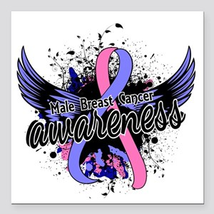 "Male Breast Cancer Aware Square Car Magnet 3"" x 3"""