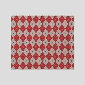 Argyle: Aurora Red and Aluminum Throw Blanket