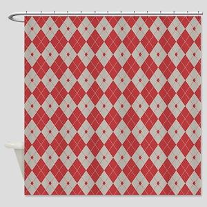 Argyle: Aurora Red and Aluminum Shower Curtain
