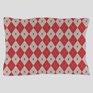 Argyle: Aurora Red and Aluminum Pillow Case