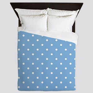 Dots: White on Placid Blue Queen Duvet