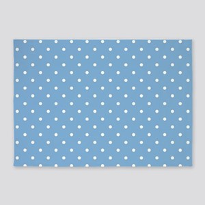 Dots: White on Placid Blue 5'x7'Area Rug