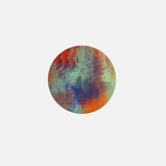 Abstract in Green, Blue, and Orange Mini Button