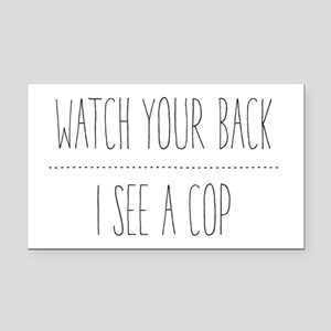 Watch Your Back Rectangle Car Magnet