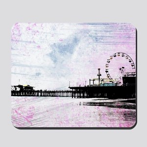 Santa Monica Pier Pink Grunge Mousepad
