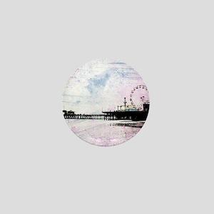 Santa Monica Pier Pink Grunge Mini Button