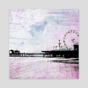 Santa Monica Pier Pink Grunge Queen Duvet