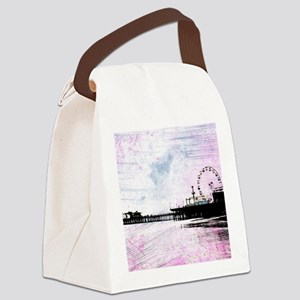 Santa Monica Pier Pink Grunge Canvas Lunch Bag
