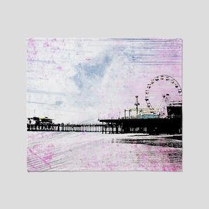 Santa Monica Pier Pink Grunge Throw Blanket