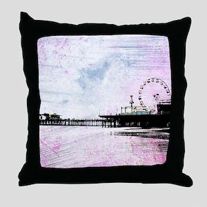 Santa Monica Pier Pink Grunge Throw Pillow