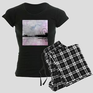 Santa Monica Pier Pink Grung Women's Dark Pajamas