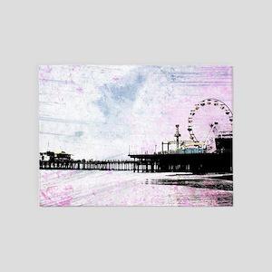 Santa Monica Pier Pink Grunge 5'x7'Area Rug