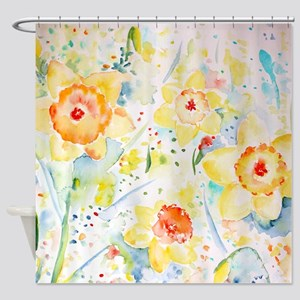 Watercolor Daffodils Pattern Shower Curtain