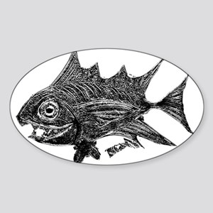 Chrome Retro Tuna Toothy. Fish Retro Tuna Sticker