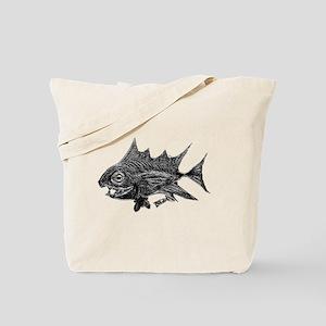 Chrome Retro Tuna Toothy. Fish Retro Tuna Tote Bag