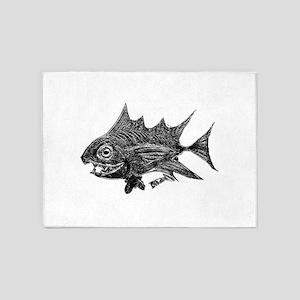Chrome Retro Tuna Toothy. Fish Retr 5'x7'Area Rug