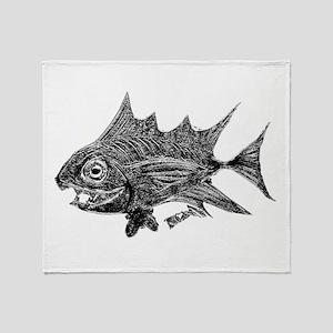 Chrome Retro Tuna Toothy. Fish Retro Throw Blanket