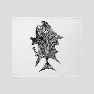 Chrome Retro Tuna Toothy R. Fish Ret Throw Blanket