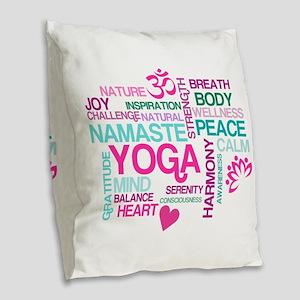 Yoga Inspirations Burlap Throw Pillow