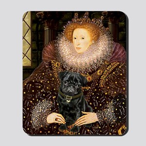 The Queen's Black Pug Mousepad