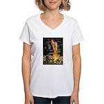 Fairies & Black Pug Women's V-Neck T-Shirt