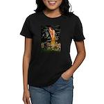 Fairies & Black Pug Women's Dark T-Shirt