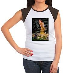 Fairies & Black Pug Women's Cap Sleeve T-Shirt