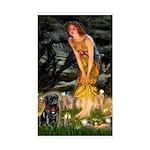 Fairies & Black Pug Sticker (Rectangle)