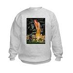 Fairies & Black Pug Kids Sweatshirt