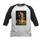 Fairies & Black Pug Kids Baseball Jersey