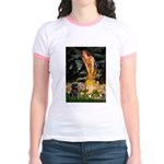 Fairies & Black Pug Jr. Ringer T-Shirt