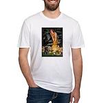 Fairies & Black Pug Fitted T-Shirt