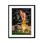 Fairies & Black Pug Framed Panel Print