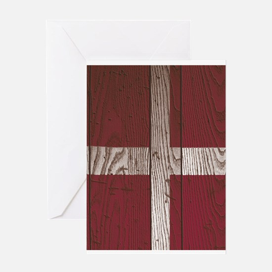 Wooden Denmark flag Greeting Cards