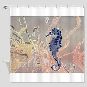Blue Seahorse Fantasy Shower Curtain