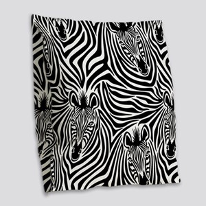 Zebras Burlap Throw Pillow