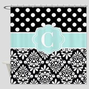 Black Aqua Dots Damask Monogram Shower Curtain